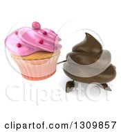 Clipart Of A 3d Milk Chocolate Or Poop Character Holding Up A Pink Frosted Cupcake Royalty Free Illustration by Julos