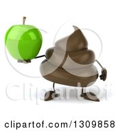 Clipart Of A 3d Milk Chocolate Or Poop Character Holding A Green Apple Royalty Free Illustration by Julos