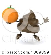 Clipart Of A 3d Milk Chocolate Or Poop Character Jumping And Holding An Orange Royalty Free Illustration by Julos