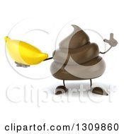 Clipart Of A 3d Milk Chocolate Or Poop Character Holding Up A Finger And A Banana Royalty Free Illustration by Julos