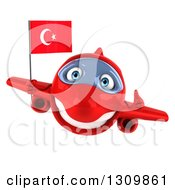 Clipart Of A 3d Happy Red Airplane Giving A Thumb Up And Flying With A Turkey Flag Royalty Free Illustration