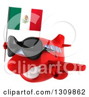 Clipart Of A 3d Red Airplane Wearing Sunglasses And Flying To The Left With A Mexican Flag Royalty Free Illustration