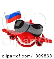 Clipart Of A 3d Happy Red Airplane Wearing Sunglasses Giving A Thumb Up And Flying With A Russian Flag Royalty Free Illustration
