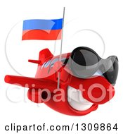 Clipart Of A 3d Happy Red Airplane Wearing Sunglasses And Flying To The Right With A Russian Flag Royalty Free Illustration
