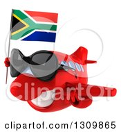 Clipart Of A 3d Happy Red Airplane Wearing Sunglasses And Flying To The Left With A South African Flag Royalty Free Illustration