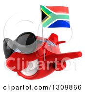 Clipart Of A 3d Happy Red Airplane Wearing Sunglasses And Flying To The Left With A South African Flag 2 Royalty Free Illustration