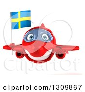 Clipart Of A 3d Happy Red Airplane Flying With A Swedish Flag Royalty Free Illustration