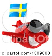 Clipart Of A 3d Happy Red Airplane Wearing Sunglasses And Flying To The Right With A Swedish Flag Royalty Free Illustration