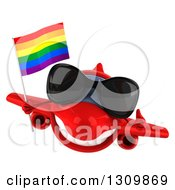 Clipart Of A 3d Happy Red Airplane Wearing Sunglasses Giving A Thumb Up And Flying With A LGBT Rainbow Flag Royalty Free Illustration