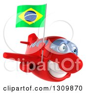 Clipart Of A 3d Happy Red Airplane Flying To The Right And Holding A Brazilian Flag Royalty Free Illustration