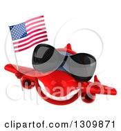 Clipart Of A 3d Happy Red Airplane Wearing Sunglasses Giving A Thumb Up And Flying With An American Flag Royalty Free Illustration