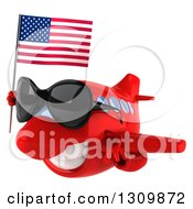 Clipart Of A 3d Happy Red Airplane Wearing Sunglasses And Flying To The Left With An American Flag Royalty Free Illustration