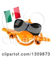 Clipart Of A 3d Orange Airplane Wearing Sunglasses And Flying With A Mexican Flag Royalty Free Illustration