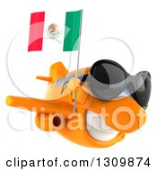 Clipart Of A 3d Orange Airplane Wearing Sunglasses And Flying To The Right With A Mexican Flag Royalty Free Illustration