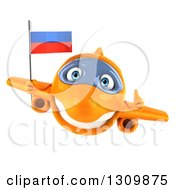 Clipart Of A 3d Happy Orange Airplane Giving A Thumb Up And Flying With A Russian Flag Royalty Free Illustration