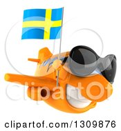 Clipart Of A 3d Happy Orange Airplane Wearing Sunglasses And Flying To The Right With A Swedish Flag Royalty Free Illustration