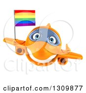 Clipart Of A 3d Happy Orange Airplane Giving A Thumb Up And Flying With A LGBT Rainbow Flag Royalty Free Illustration