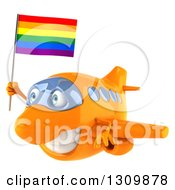 Clipart Of A 3d Happy Orange Airplane Flying To The Left With A LGBT Rainbow Flag Royalty Free Illustration