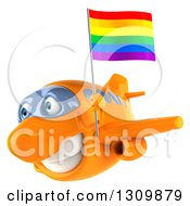 Clipart Of A 3d Happy Orange Airplane Flying To The Left With A LGBT Rainbow Flag 2 Royalty Free Illustration
