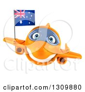 Clipart Of A 3d Happy Orange Airplane Flying With An Australian Flag And Giving A Thumb Up Royalty Free Illustration