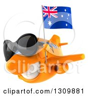 Clipart Of A 3d Happy Orange Airplane Wearing Sunglasses And Flying To The Left With An Australian Flag Royalty Free Illustration