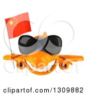 Clipart Of A 3d Orange Airplane Wearing Sunglasses And Flying With A Chinese Flag Royalty Free Illustration