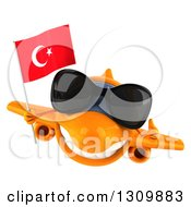 Clipart Of A 3d Happy Orange Airplane Wearing Sunglasses Giving A Thumb Up And Flying With A Turkey Flag Royalty Free Illustration
