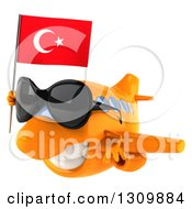 Clipart Of A 3d Happy Orange Airplane Wearing Sunglasses And Flying To The Left With A Turkey Flag Royalty Free Illustration