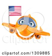 Clipart Of A 3d Happy Orange Airplane Giving A Thumb Up And Flying With An American Flag Royalty Free Illustration