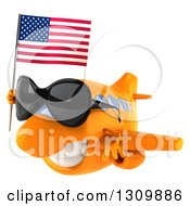 Clipart Of A 3d Happy Orange Airplane Wearing Sunglasses And Flying To The Left With An American Flag Royalty Free Illustration