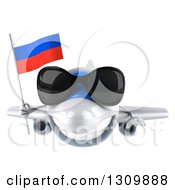 Clipart Of A 3d Happy White Airplane Wearing Sunglasses And Flying With A Russian Flag Royalty Free Illustration