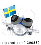 Clipart Of A 3d Happy White Airplane Wearing Sunglasses Giving A Thumb Up And Flying With A Swedish Flag Royalty Free Illustration