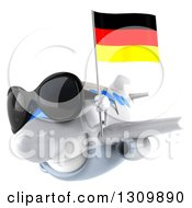 Clipart Of A 3d Happy White Airplane Wearing Sunglasses And Flying To The Left With A German Flag Royalty Free Illustration