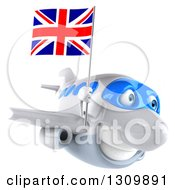 Clipart Of A 3d Happy White Airplane Flying To The Right With A British Flag Royalty Free Illustration