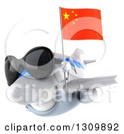Clipart Of A 3d White Airplane Wearing Sunglasses And Flying To The Left With A Chinese Flag Royalty Free Illustration