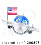 Clipart Of A 3d Happy White Airplane Giving A Thumb Up And Flying With An American Flag Royalty Free Illustration