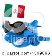 Clipart Of A 3d Blue Airplane Wearing Sunglasses And Flying To The Left With A Mexican Flag Royalty Free Illustration