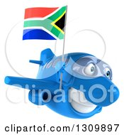 Clipart Of A 3d Happy Blue Airplane Flying To The Right With A South African Flag Royalty Free Illustration
