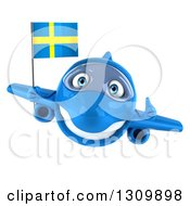 Clipart Of A 3d Happy Blue Airplane Giving A Thumb Up And Flying With A Swedish Flag Royalty Free Illustration