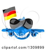 Clipart Of A 3d Happy Blue Airplane Wearing Sunglasses And Flying With A German Flag Royalty Free Illustration