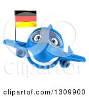 Clipart Of A 3d Happy Blue Airplane Giving A Thumb Up And Flying With A German Flag Royalty Free Illustration