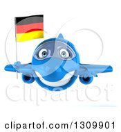 Clipart Of A 3d Happy Blue Airplane Flying With A German Flag Royalty Free Illustration