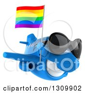 Clipart Of A 3d Happy Blue Airplane Wearing Sunglasses And Flying To The Right With A LGBT Rainbow Flag Royalty Free Illustration