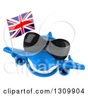 Clipart Of A 3d Happy Blue Airplane Wearing Sunglasses Giving A Thumb Up And Flying With A British Flag Royalty Free Illustration