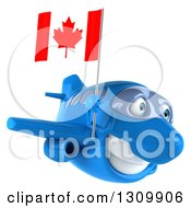 Clipart Of A 3d Happy Blue Airplane Flying To The Right And Holding A Canadian Flag Royalty Free Illustration
