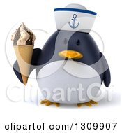Clipart Of A 3d Penguin Sailor Holding A Waffle Ice Cream Cone Royalty Free Illustration by Julos