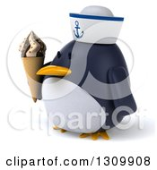 Clipart Of A 3d Penguin Sailor Facing Slightly Left And Holding A Waffle Ice Cream Cone Royalty Free Illustration by Julos