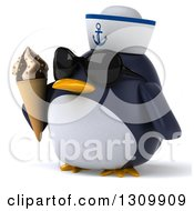 Clipart Of A 3d Penguin Sailor Facing Slightly Left Wearing Sunglasses And Holding A Waffle Ice Cream Cone Royalty Free Illustration