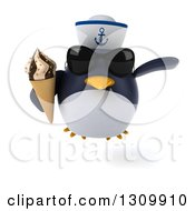 Clipart Of A 3d Penguin Sailor Wearing Sunglasses Flying And Holding A Waffle Ice Cream Cone Royalty Free Illustration by Julos