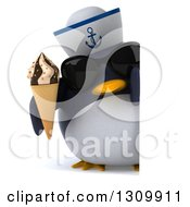 Clipart Of A 3d Penguin Sailor Wearing Sunglasses And Holding A Waffle Ice Cream Cone Around A Sign Royalty Free Illustration by Julos